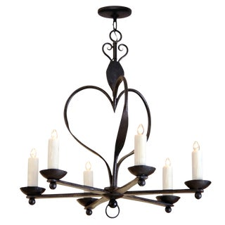 Randy Esada Designs for Prospr Italian 6 Arm Wrought Iron Chandelier