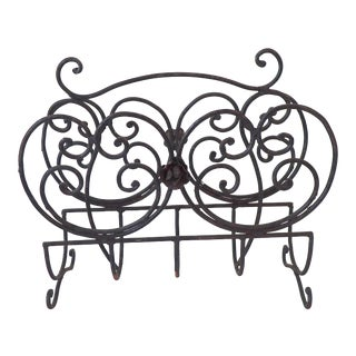 Vintage Iron Patio Rack for Magazines Newspapers Black Distressed Rust Content