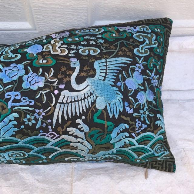 Hollywood Regency Blue & Black Asian Chinoiserie Boudoir Pillow - Image 3 of 6
