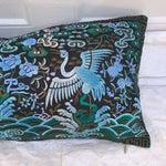 Image of Hollywood Regency Blue & Black Asian Chinoiserie Boudoir Pillow