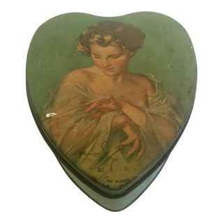 Vintage Mid-Century Tindeco Heart Shaped Female Portrait Tin Box