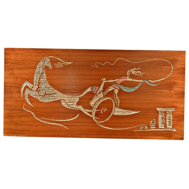 Mid Century Wood Wall Art - Female Chariot - Image 1 of 8