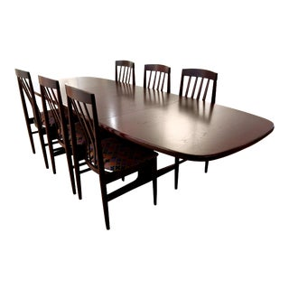 Authentic 1960s, Scandinavian Design, Rose Mahogany Finished Teak Dining Table and 6 Chairs