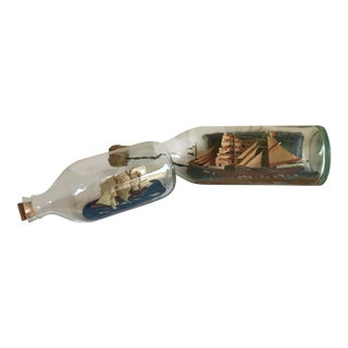 Handmade Ships in a Bottle - A Pair