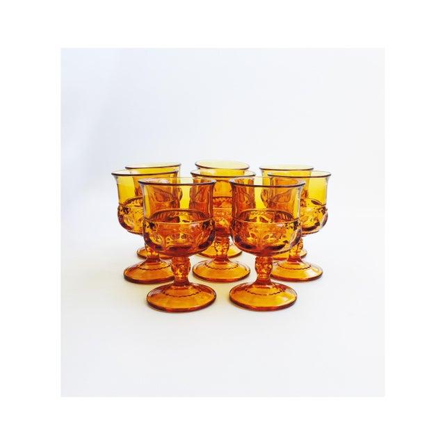 Vintage Amber Pressed Glass Goblets - Set of 8 - Image 2 of 5