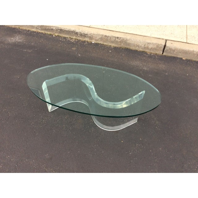 1970s Modern Serpentine Lucite Coffee Table - Image 5 of 8