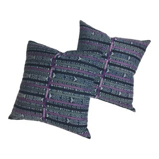 Vintage Guatemalan Corte & African Indigo Pillows - A Pair