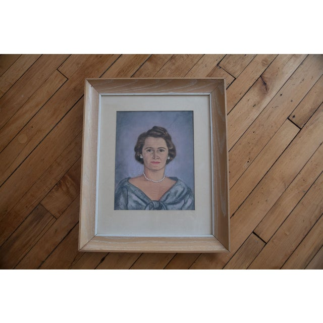 Vintage Framed Pastel Lady Portraits - Pair of 2 - Image 6 of 8