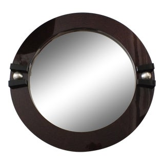 Post Modern Round Macassar Wall Mirror