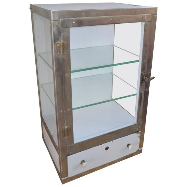 Barber Shop Cabinet With Glass Sides & Shelves - Image 1 of 10