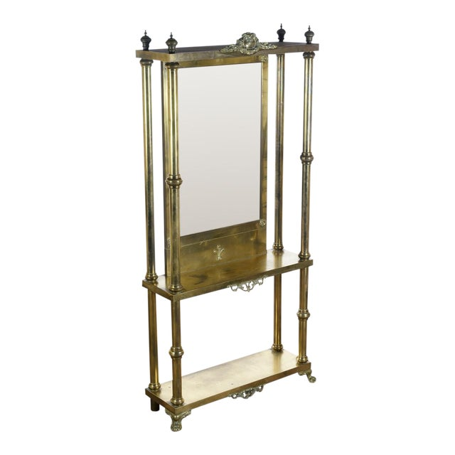 Image of Antique Victorian Brass & Beveled Mirror Hall Tree