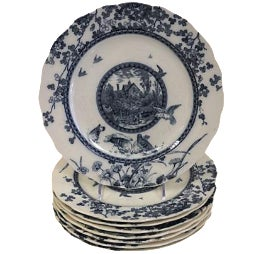 English Aesthetic Movement Plates - Set of 8