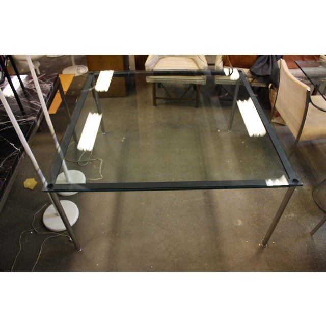 Charles Modern 47 Square Glass Top Coffee Table W: Le Corbusier Glass Top & Steel Dining Table