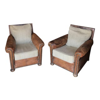 Leather & Cream Marble Tweed Club Chairs - A Pair