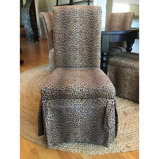 Group of Four Leopard Print Upholstered Side Chairs & Table - Image 5 of 9