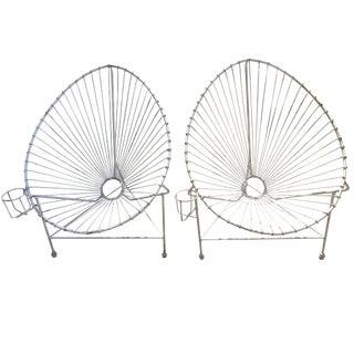 Mathieu Matégot Style Modernist White Wire Chairs - A Pair
