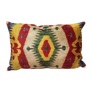 Silk Velvet Yellow & Green Ikat Pillow