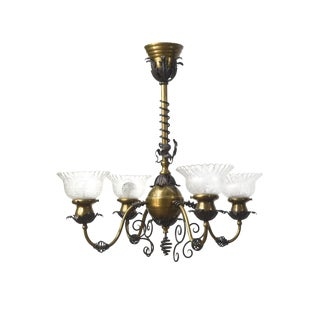 Traditional Brass & Wrought Iron Electric Fixture