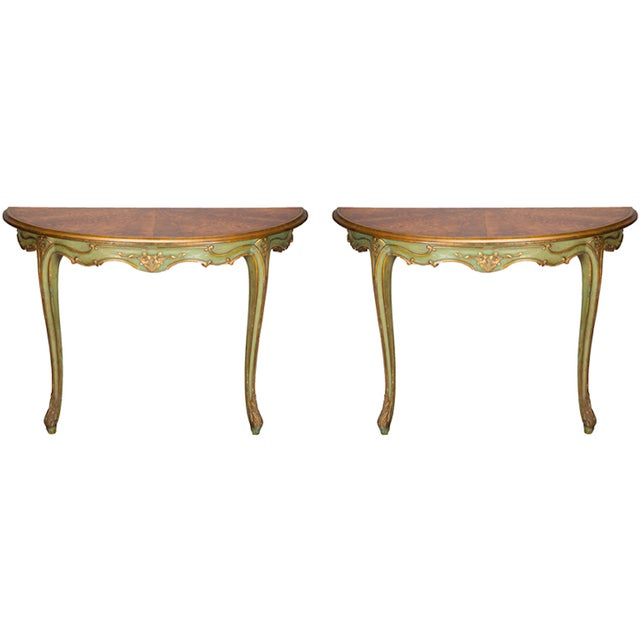 Image of Green Gilded Italian Console Demilunes - A Pair