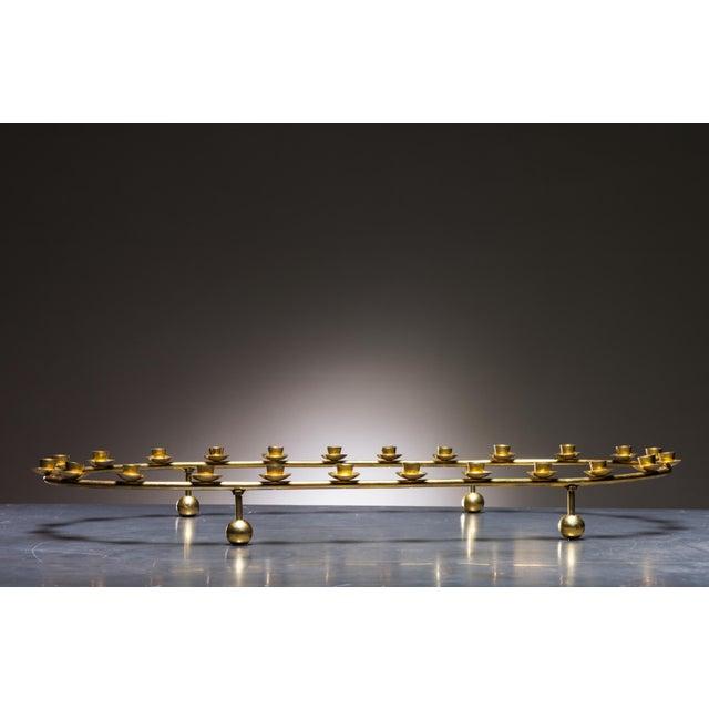Large Brass Oval Candelabra for 24 Candles, Denmark, 1950s - Image 2 of 2