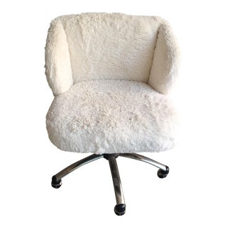 White Faux Fur Swivel Desk Chair