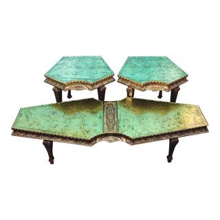 Hollywood Regency Eglomise Green & Gold Coffee Table - 3 Piece Set
