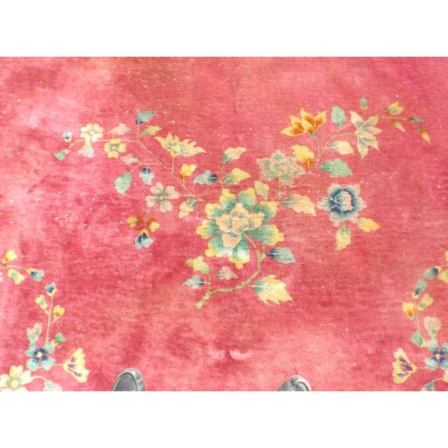Authentic 1930s Art Deco Chinese Handmade Rug - Image 7 of 9