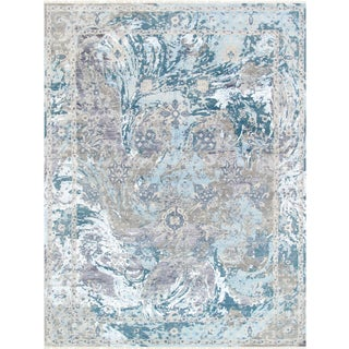 Pasargad Transitiona Silk & Wool Area Rug - 9′1″ × 12′2″