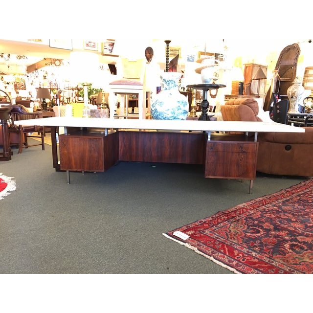 Mid-Century Executive Desk, Marble Top - Image 3 of 11