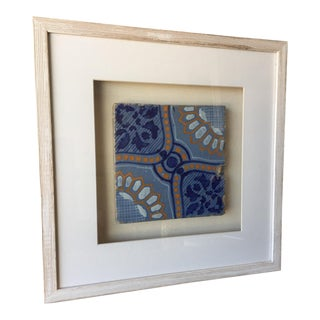 Framed Italian Antique Blue, Yellow, & White Tile