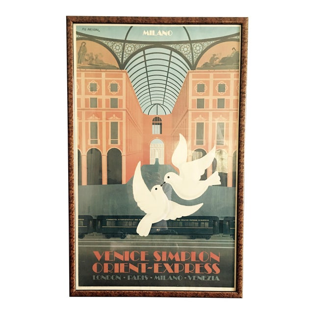 vintage travel poster orient express chairish. Black Bedroom Furniture Sets. Home Design Ideas