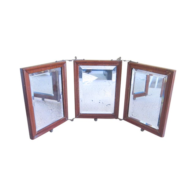 Victorian Antique Tri-Fold Wooden Travel Mirror - Image 1 of 11