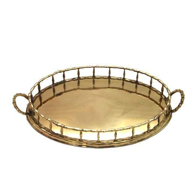 Oval Brass Faux Bamboo Tray - Image 1 of 2
