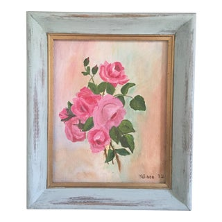 Mid Century Still Life Rose Floral Painting Framed Signed