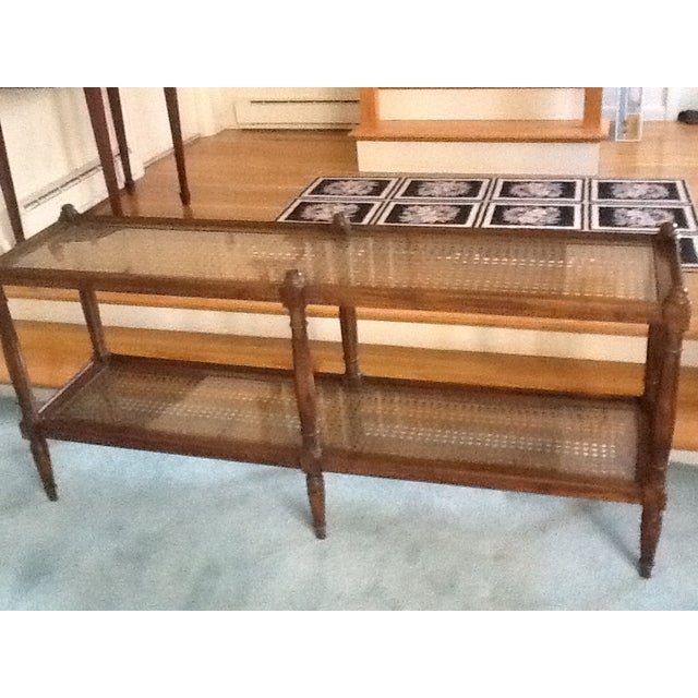 Image of Cane & Glass Coffee Table with Shelf