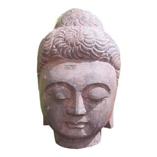 Vintage Buddha Head Stone Statue