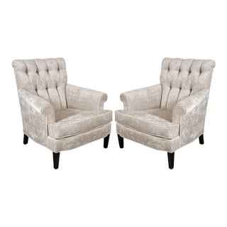 Pair of Mid-Century Tufted Back Scroll-Arm Club Chairs in Crocodile Velvet