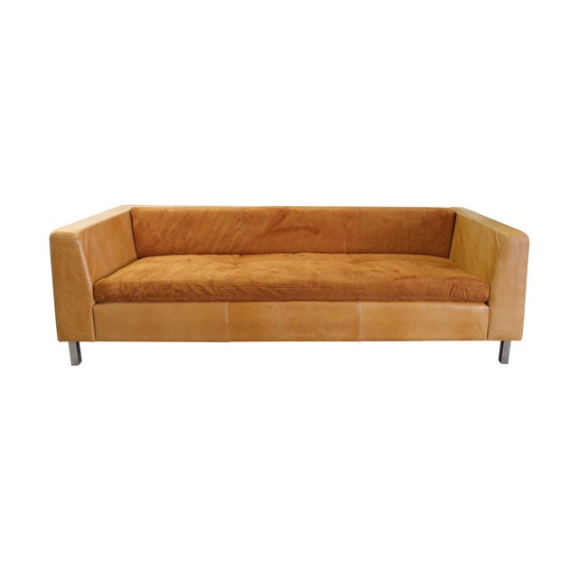 Modern Brazilian Brown Suede Sofa - Image 1 of 5