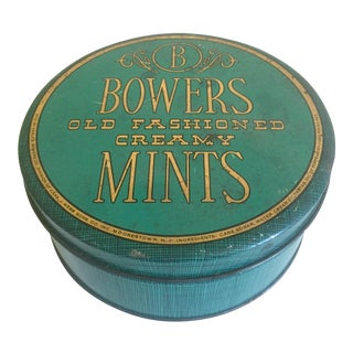 Vintage Mid-Century Bower's Old Fashioned Creamy Mints Metal Tin