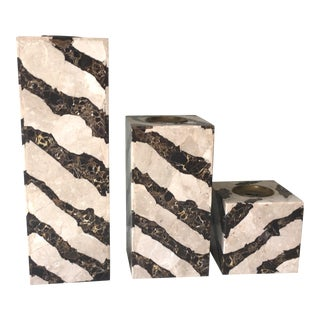 Mid-Century Tessellated Stone Candle Holders - 3