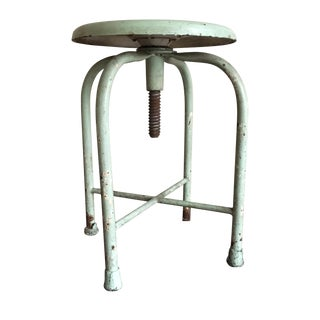 Industrial Circa 1930s Pale Green Metal Stool