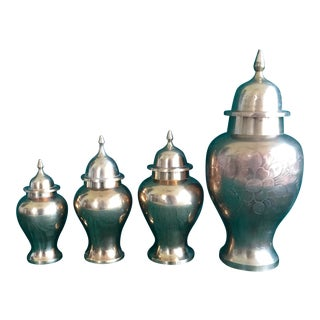 Set of 4 Hollywood Regency Brass GingerJars