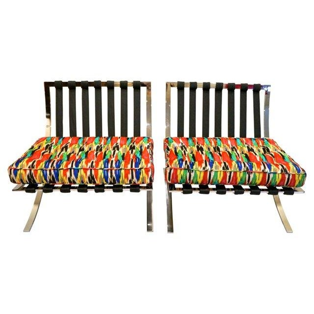 Ikat Barcelona Style Chrome Chairs - A Pair - Image 6 of 7