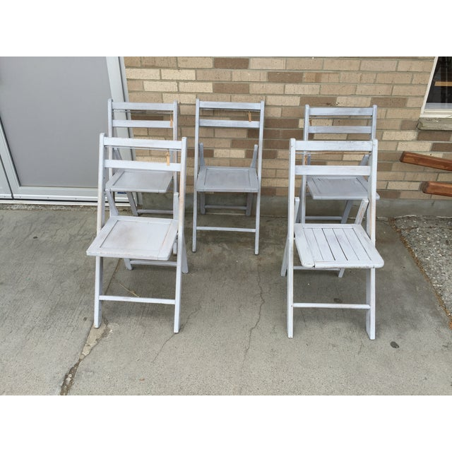 French Grey Folding Chairs - Set of 5 - Image 2 of 5