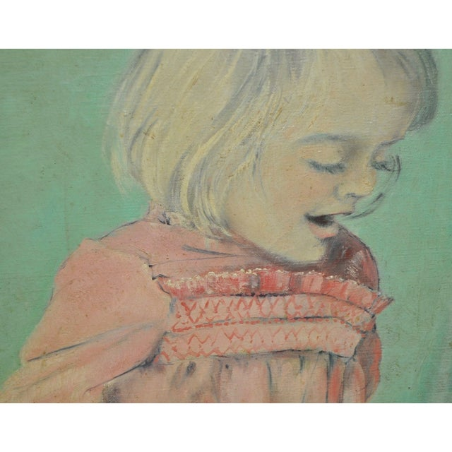 Vintage Oil Portrait of a Young Girl C.1960's - Image 4 of 7
