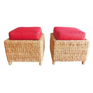 Handwoven Red Pillow Top Ottomans - A Pair