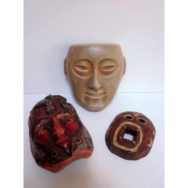 Image of Decorative Carved Masks & Buddha Statue - Set of 3