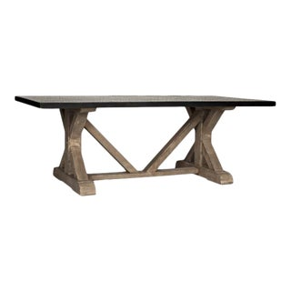 X-Base Dining Table With Hammered Zinc Top