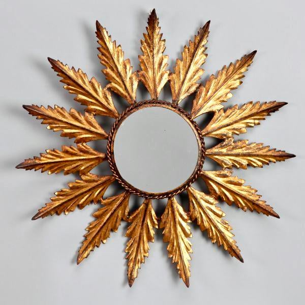 Mid-Century Italian Gilt Metal Sunburst Wall Mirror - Image 4 of 7