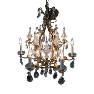 French Louis XV Bronze 6 Light Crystal Chandelier